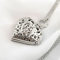 Silver Heart Shape Quartz Hollow Pocket Watch Necklace Pendant Chain Girls Gift