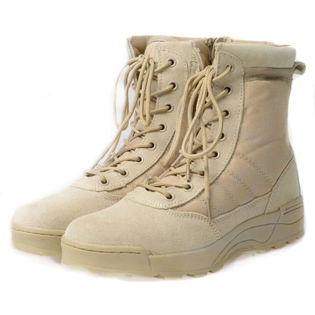 Mens Military Tactical Ankle Boots Leather Combat Work