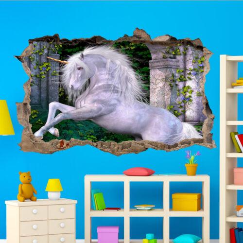 UNICORN WALL STICKERS FANTASYLAND PALACE 3D ART MURAL ROOM OFFICE SHOP DECOR UX5