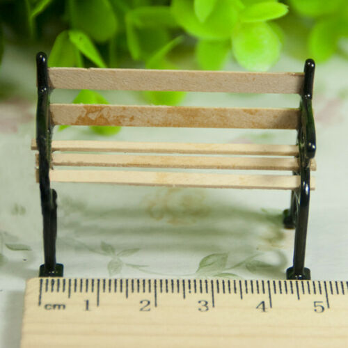 1//24 Dollhouse Miniature Garden Patio Furniture Metal Park Bench Decor