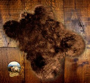 Brown Grizzly Bear Skin Faux Fur Pelt Hide Throw Rug Shag