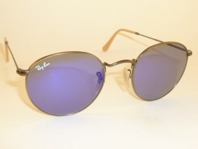 3ebf158724 New RAY BAN Sunglasses ROUND METAL Bronze Frame RB 3447 167 68 Blue Lenses