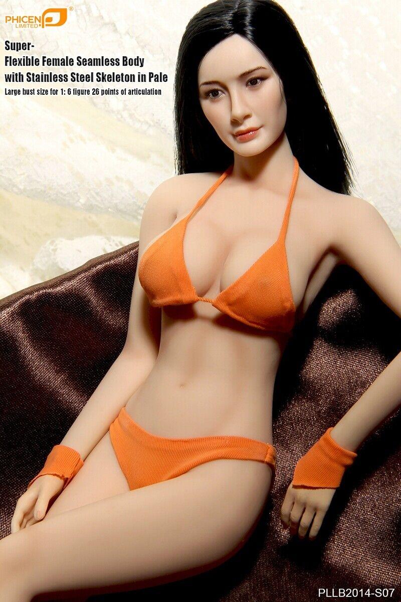 TBLeague Phicen S07 Female Seamless BIG bust body Pale w  Head 1 6 Figure