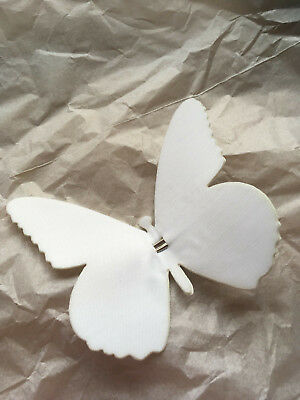 Reduced White Fabric Clip on Butterfly Ideal for Decorating Substandard