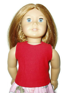 Red-Sleeveless-Tank-Top-T-Shirt-fits-American-Girl-Dolls-18-034-Doll-Clothes