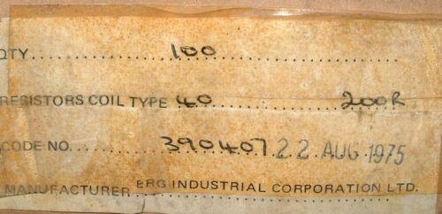 20 X 200R 6 W Vintage Wirewound resistencias ERG 390407 Verde Esmalte vítreo