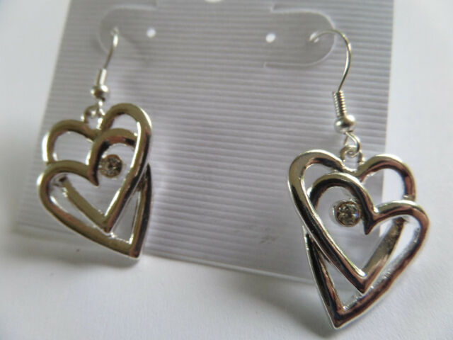 TWO LINKED SILVER LOVE HEARTS DIAMANTE DROP DANGLE EARRINGS new gift pouch
