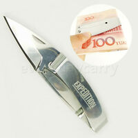 Folding Lock Blade Hunting Knife 440C Stainless steel & Metal Money Clip/Holder