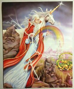 Wizard-Poster-1988-Rainbow-Unicorn-amp-Dragon-Lithograph-Print-Wall-Art-195-11025