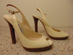 27595769d96 Jimmy Choo Women s white Patent Leather Peep Toe Slingbacks pumps ...