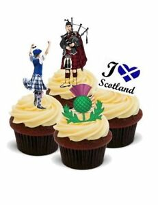 Standups 12 Edible Premium Cake Toppers AROUND THE WORLD SCOTLAND EDINBURGH
