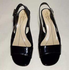 38da307b5efc  298 Kate Spade Black Patent Leather Open Toe Slingback Pump Size ...