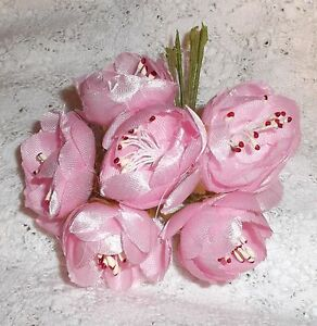 ROSEBUD millinery Vintage style 6 silk LIGHT PINK roses DOLL HATS  & crafts