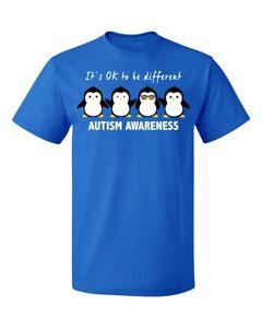 Cool-Penguin-Autism-Awareness-Support-Men-039-s-T-shirt