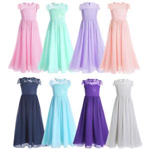 Festlich Madchen Kleid Lange Brautjungfern Party Kleider 104 116 128 140 152 164 Ebay