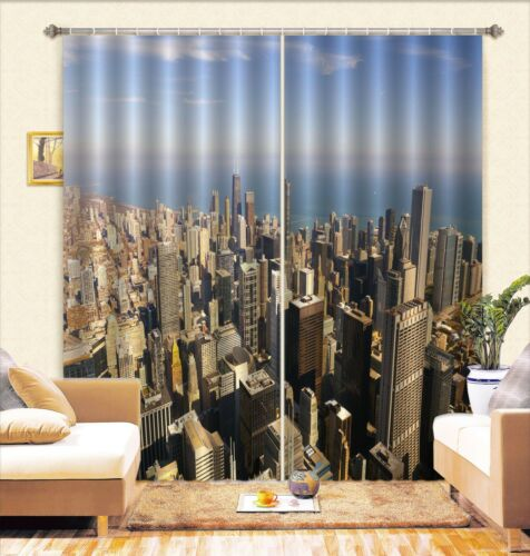 3D Building 87 Blockout Photo Curtain Printing Curtains Drapes Fabric Window AU