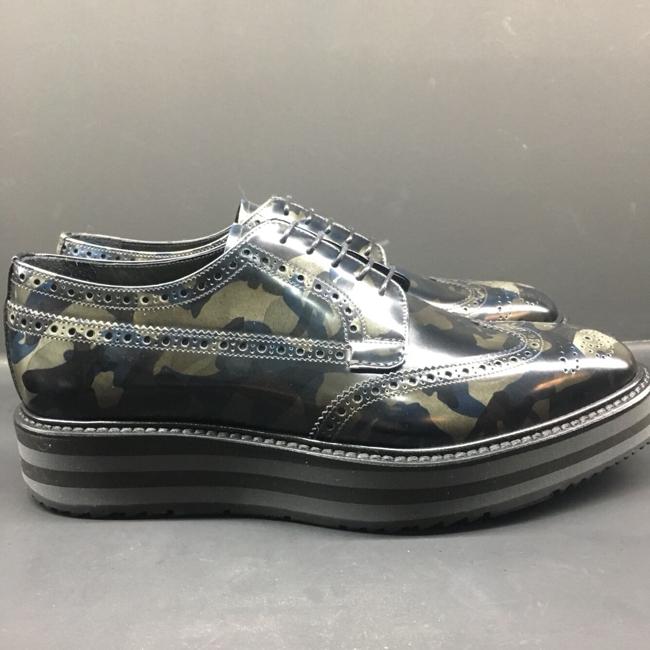 Prada Derby Camo Shoes Men's Creepers Leather Sneakers Size 5-9 2EG015 F073A