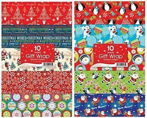 Cadeau de Noël Wrap draps plats de Noël Papier Cadeau 30 feuilles assorties
