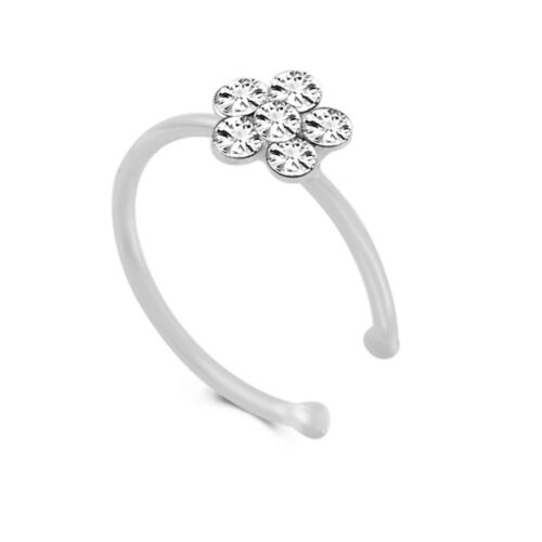 1Pc Small Thin Clear Rhinestone Flower Ring Charm Nose Ring Fashion GZ