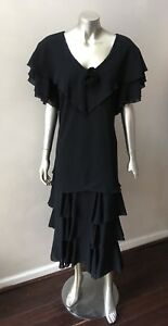 Chiffon-Crepe-Vintage-90s-Cape-RUffle-Flutter-Midi-Black-Party-Dress-Plus-Sz-14W