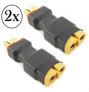 2X-Male-Deans-Type-T-plug-to-Female-XT60-RC-Battery-Adapter-No-Wire-US-SELLER
