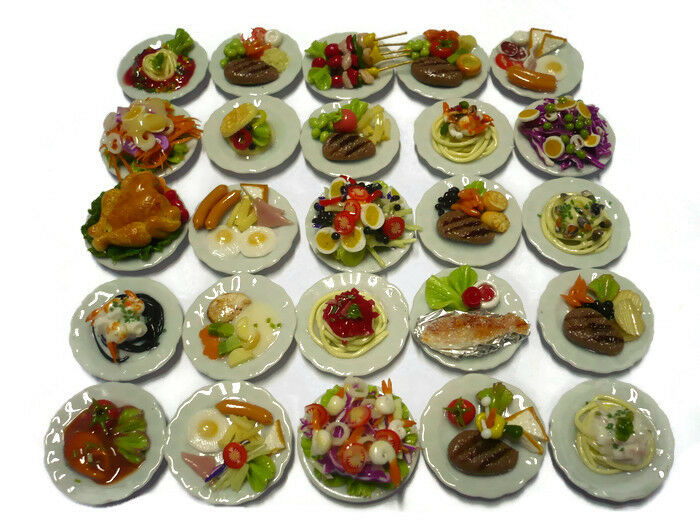 Set of 25 Mix Food on Round Plate 2.50 cm Dollhouse Miniatures Food
