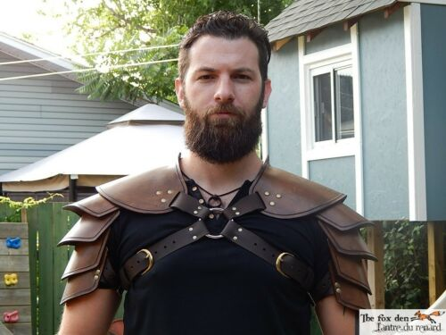 Single or double black or brown High quality! Viking leather shoulder armor