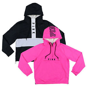 Victoria-039-s-Secret-Pink-Jacket-Windbreaker-Half-Zip-Sherpa-Lined-Hoodie-Logo-New