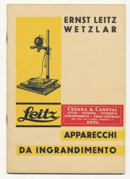 Actif Leitz Libretto Sugli Apparecchi Da Ingrandimento Leica In Italiano 1931 E629 Bis Retarder La SéNilité