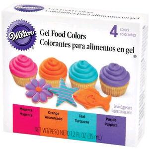 Neon Gel Food Coloring Set Wilton Purple Magenta Teal Orange | eBay
