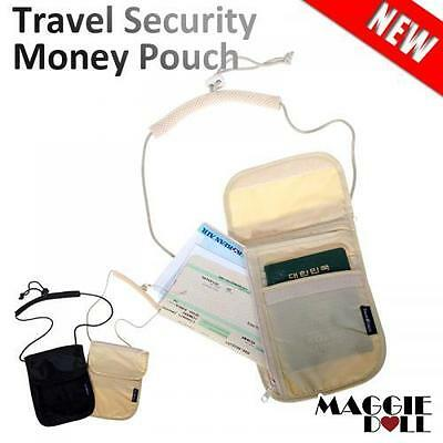 Passport Wallet Travel Security Money Pouch Neck Strap Under Clothes Holster Bag