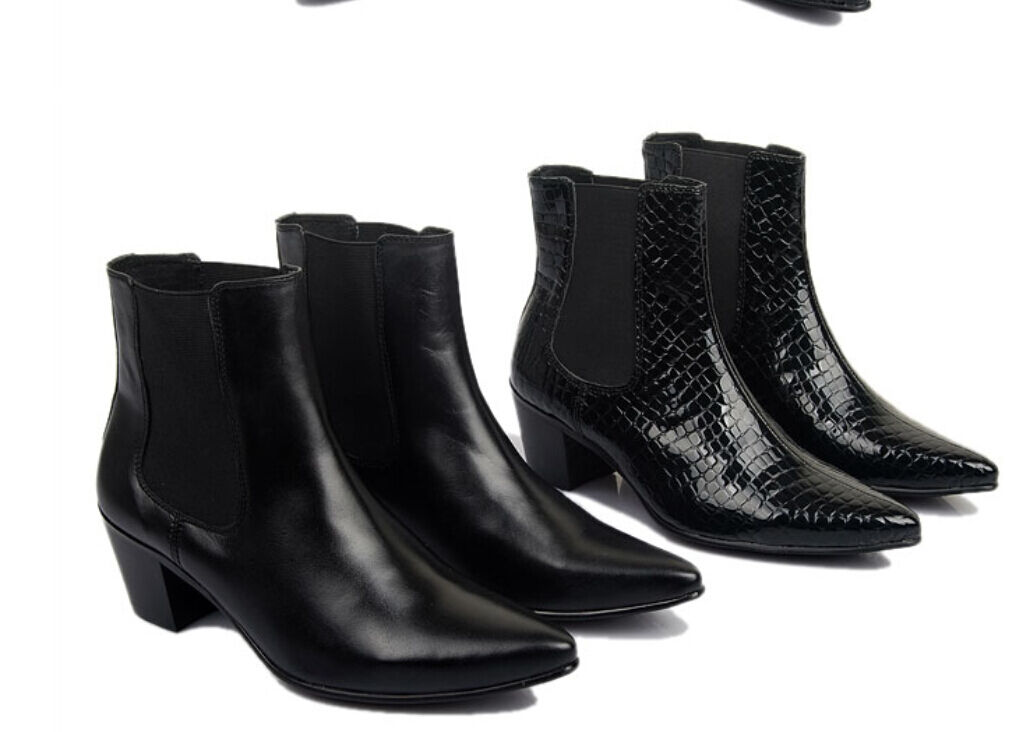 Da Uomo in pelle cerniera nera cerniera pelle High Top Stivaletti Fashion Nero   Business Nuovo fc3cd4