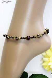 Kind-Hearted Glass Jewels Gold Fußkettchen Perlen Braun Boho Hippie Länge 27 Cm #k044 Pleasant In After-Taste Fashion Jewelry