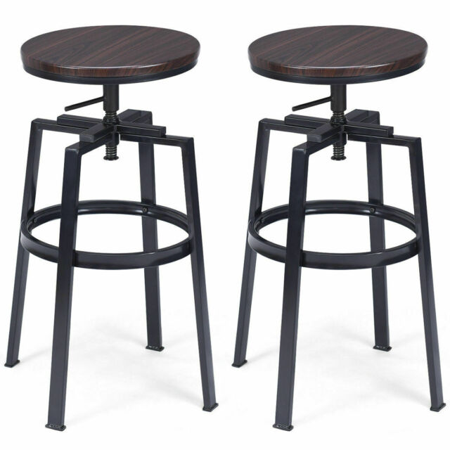 Fantastic Set Of 2 Vintage Bar Stool Industrial Adjustable Wood Metal Design Pub Chairs Gmtry Best Dining Table And Chair Ideas Images Gmtryco