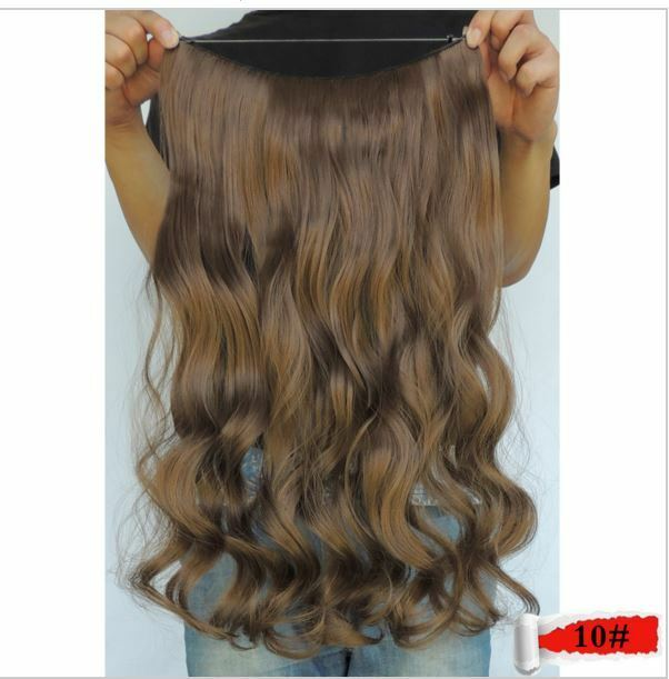 Medium Ginger Brown 10 Halo Style Flip In Wire Hair Extensions