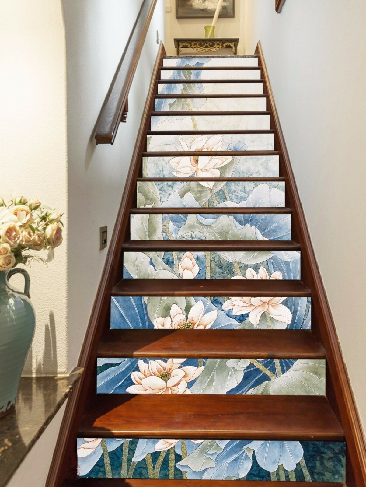 3D Lotus Flowers 11 Stair Risers Decoration Photo Mural Vinyl Decal Wallpaper AU