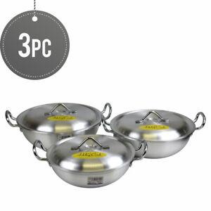 Ashley-cocinar-Aluminio-Redondo-asas-de-doble-Karahi-Olla-Set-22-24-26-Cm