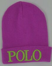 Polo Ralph Lauren Purple Beanie Hat Lime Green Polo Logo NWT