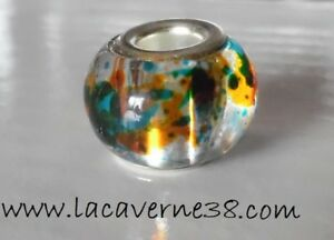 3 véritables perles de Murano gros trou 5mm dimension 14x10mm multicolore bijoux