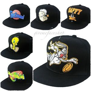 Image is loading Looney-tunes-snapback-caps-mens-ladies-flat-peak- dcc378856e6