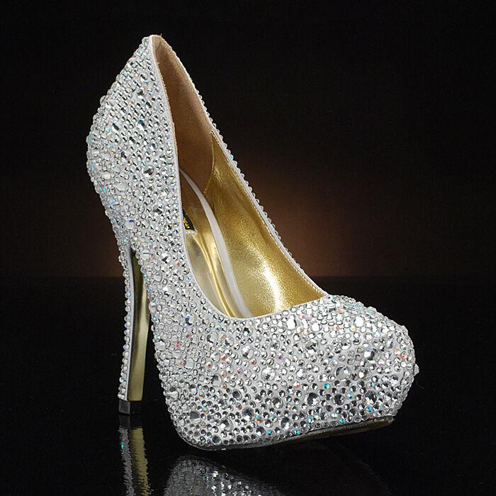 Benjamin Adams Rio Silber Silber Silber Crystal schuhe Wedding Bridal Heels BNIB 4 5.5 9 37 38 33286e