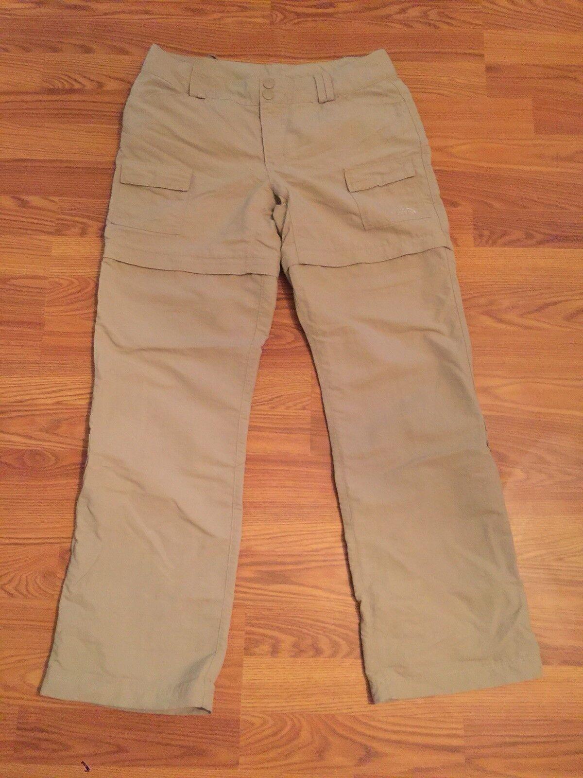 Women's The North Face Nylon Hiking Congreenible Pants Shorts Zipper Khaki 10 Reg