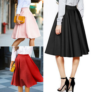 Vintage-Women-Stretch-High-Waist-Skater-Flared-Pleated-Swing-Long-Skirt-Dress