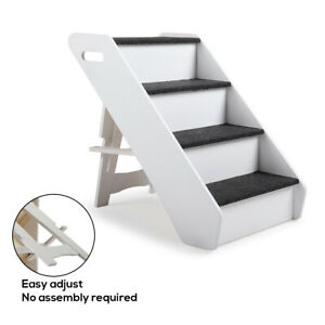 Details About Pet Stairs 4 Steps Portable Cat Dog Play Ladder Step Ramp  Climb Foldable White