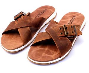 Details zu Herren Leder Sandalen Softsohle Sandaletten Schlappen Leather Sandals Spain