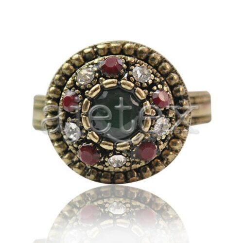 1PC Legierung Antike Kupfer Charm Kristall Rhinestone Schmuck Ringe 17x17mm