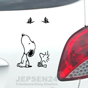 2-Aufkleber-Snoopy-12cm-Woodstock-6cm-S111-Farbwahl-fuer-Auto-Waende-Notebook