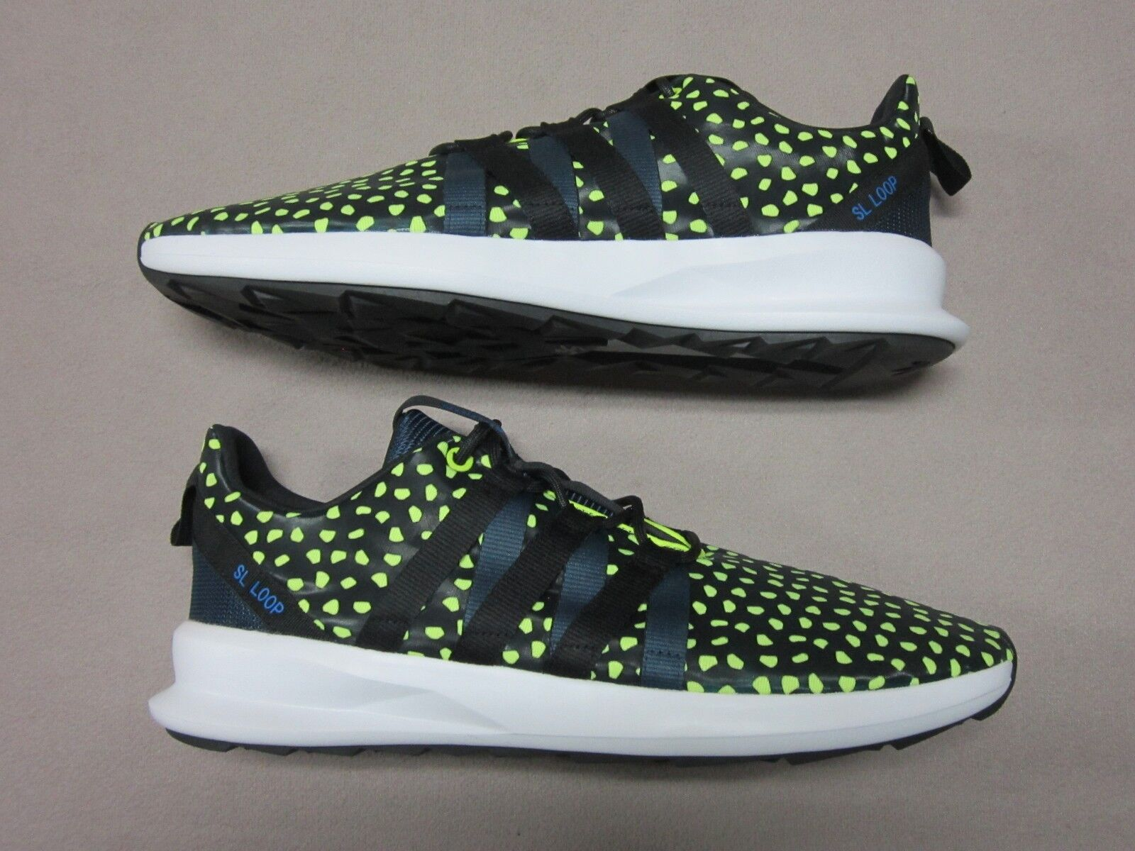 ADIDAS SL LOOP CHROMATCH BLACK & NEON YELLOW LACE UP SNEAKER SHOES SIZE 13 NEW Seasonal clearance sale