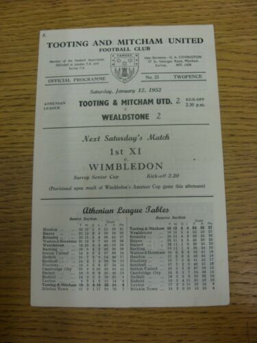 12011952 Tooting And Mitcham United v Wealdstone score on front cover, small