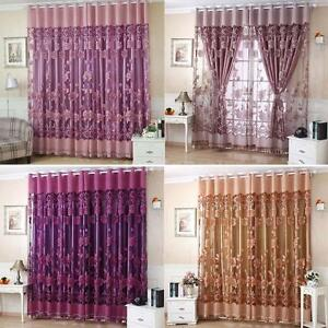 Image Is Loading Peony Pattern Voile Curtains Living Room Window Curtain